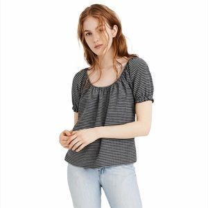 Madewell Texture & Thread Striped Peasant Top